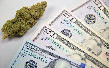 marijuana next to money